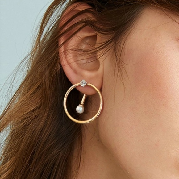 3/$35 Pearl & Rhinestone Circle Earrings